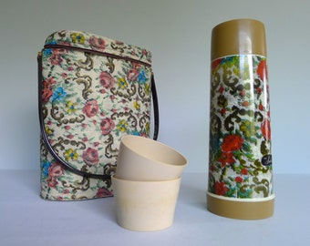 Vintage Aladdin Suburbanite Thermos and Floral Carrier Picnic Lunch Set