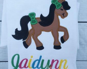Farm Horse Theme Applique Birthday Shirt Party 2nd