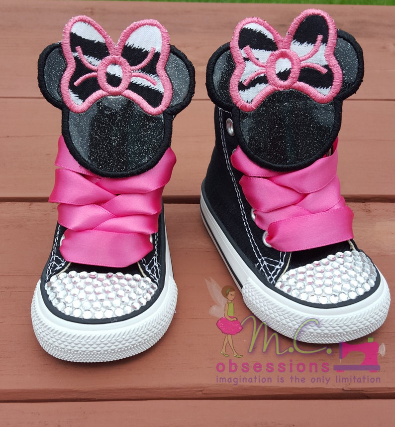 eca2a7d9547f Minnie Mouse Inspired Converse Shoes Minnie Mouse Bling