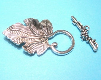 LEAF CLOAK CLASP cape clasp hook eye pewter silver or gold tone
