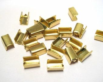 No.764 50pcs of Bright Silver Rectangle Cord End Caps Crimp Caps