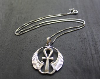 Winged Ankh Egyptian Necklace Sterling Silver
