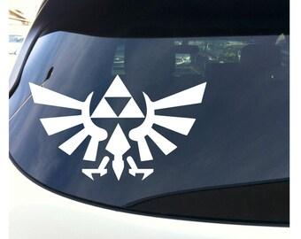 """Zelda TriForce Vinyl Decal - White 7"""" Wide Window Bumper Sticker"""