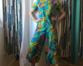 2d79391dd9bc Vintage 60s Jumpsuit Romper in psychedelic cotton crepe XS S