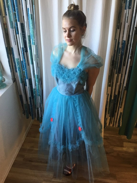 Vintage 50s Cupcake Tulle Party dress S