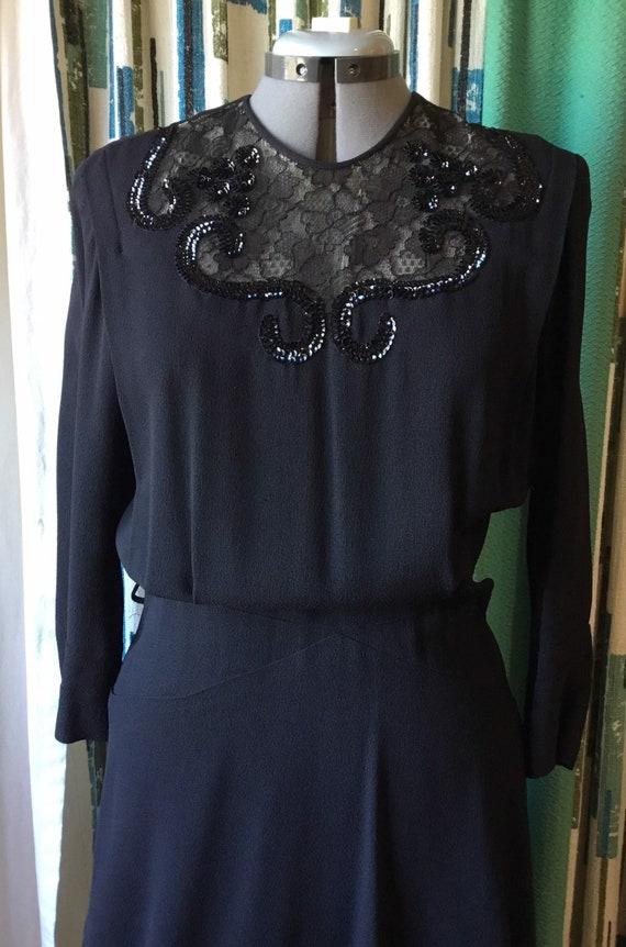 Vintage 1940s Noir rayon crepe dress. sequins lace