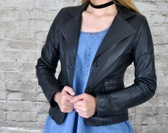 1980s Vintage Black Leather Blazer / Biker Jacket