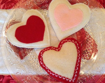 Set of three  Valentine Heart cookies