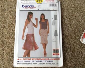 Burda  pattern 8521 ladies skirt pattern new uncut size 8-18