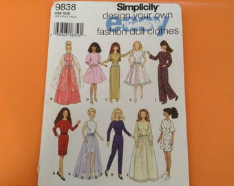 Vintage Simplicity  Barbie Doll clothes  pattern 9838