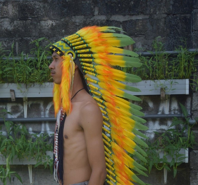 Indian Headdress Large Warbonnet Black Yellow Feather Warbonnet Replica Handmade
