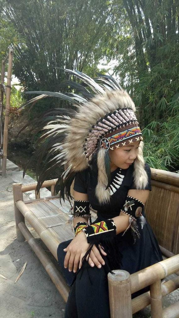 Chief White Large Costume Warbonnet Indian Headdress Feather Headband Handmade