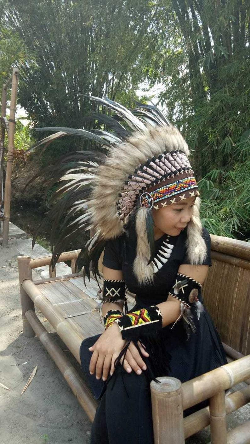 Feather Headband Pink Warbonnet Indian Headdress Chief Large Costume Handmade