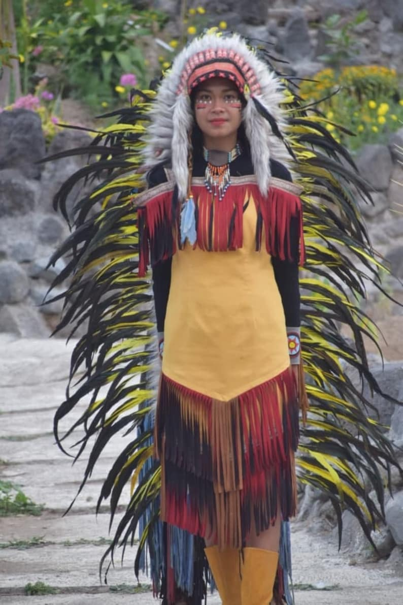 Feather Headdress ADJUSTABLE Native American Indian Style Aqua-Black Rooster