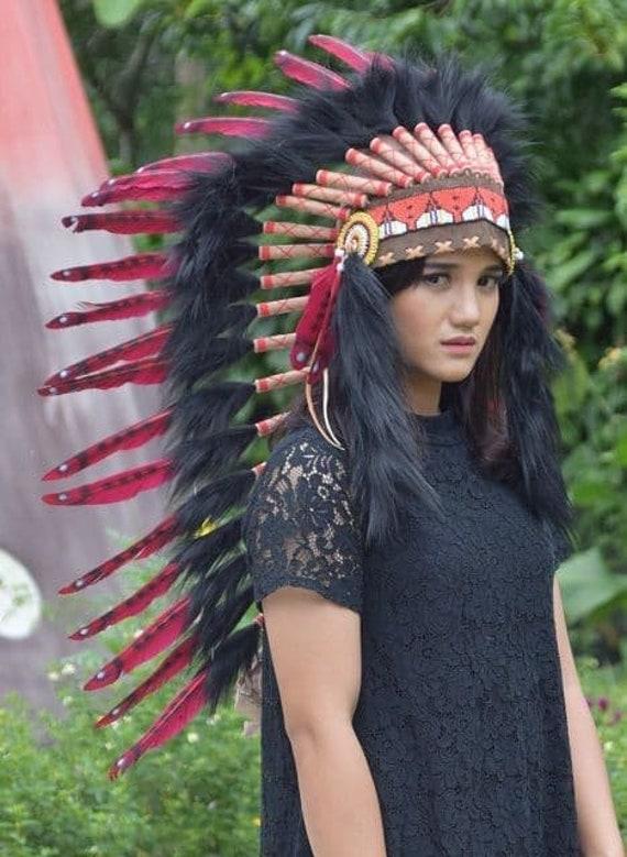 Indian Headdress   Headgear Handmade Orange Indian Headdress Large Indian Headdress Replica Feather Headdress Indian Inspired