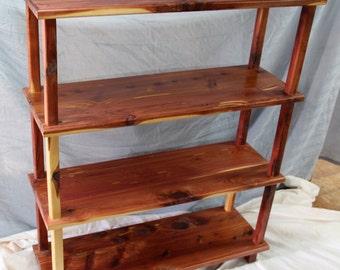 cedar book shelf, rustic book shelf, bookhelf, display shelf, furniture, shelf