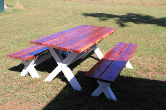table, table and benches, picnic table, patio table, kitchen table, dining  room table, outdoor table and benches,