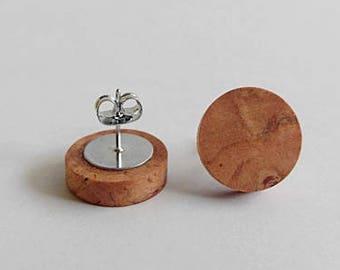 Cherry Wood Wooden Stud Earrings, Earrings for Women, Gift For Her, Wooden Earrings, Minimalist Earrings, Wooden Jewelry, Unique Earrings