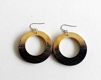 Walnut Wood Wooden Earrings, Dangle and Drop Earrings, Natural Earrings, Eco Jewelry, Round  Earring, Wooden Earrings For Women, Unique Long