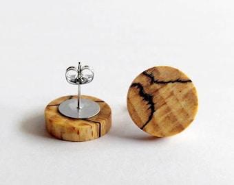 Wooden Stud Earrings, Beech Wood, Earrings for Women, Gift For Her, Wooden Earrings, Minimalist Earrings, Wooden Jewelry, Unique Earrings