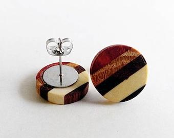 Multi Wood Wooden Stud Earrings, Earrings for Women, Gift For Her, Wooden Earrings, Minimalist Earrings, Wooden Jewelry, Unique Earrings