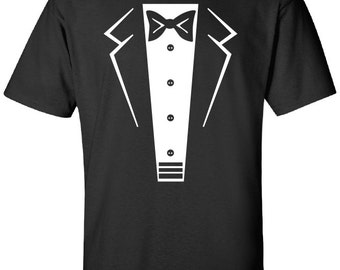 ea4c8ce81 Tuxedo Tux penguin wedding bachelor party funny 80s cool drinking Printed  graphic T-Shirt Tee Shirt t Mens Ladies Womens Youth Kids ML-078W