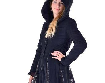 WARM WINTER COAT, sparkly black ladies pixie coat, circus fairy coat, boho sequin coat, gothic steampunk coat, fairy coat, hippy winter coat