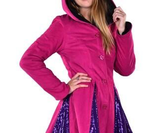 PINK WINTER COAT, sparkly ladies pixie coat, circus fairy coat, boho sequin coat, steampunk coat, fairy coat, plus size hippy winter coat