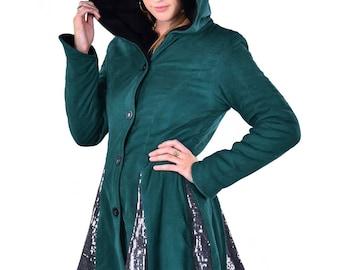 WARM WINTER COAT, sparkly ladies pixie coat, circus fairy coat, boho sequin coat, steampunk coat, fairy coat, plus size hippy winter coat