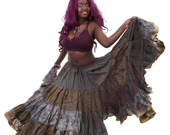 gothic Tribal Fusion Bellydance Skirt Metallic Red Black Velvet Mermaid Skirt Small to Medium clubbing