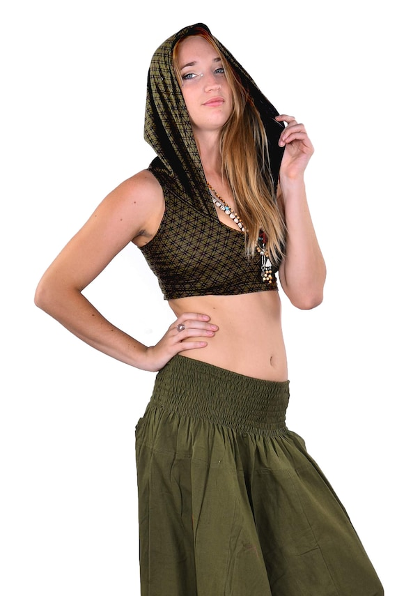 Psy Trance Goa Top Festival Crop Top Sacred Geometry Flower of Life Hooded Top