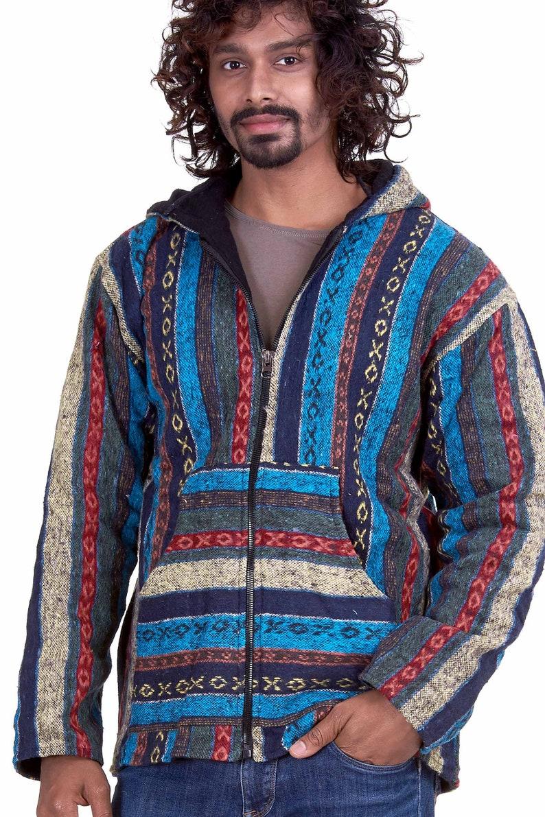 Mens Hippy Blanket Hoodie Jacket