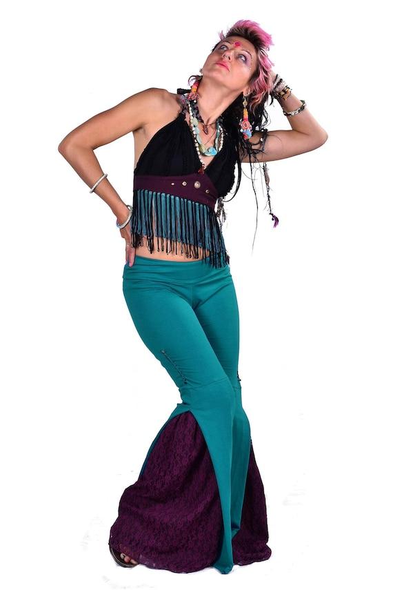 long purple bootcut steampunk pants boho trousers STEAMPUNK LEGGINGS TROUSERS boho leggings psytrance clothing Burning Man