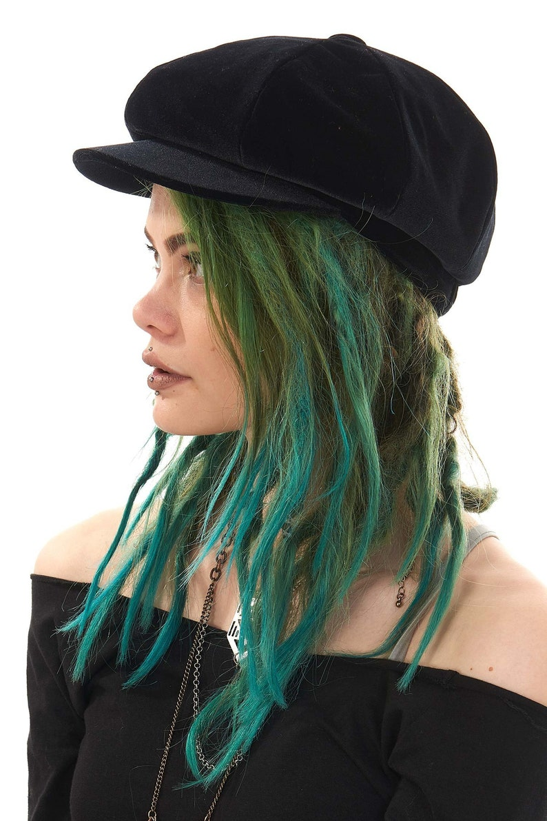 d73e31f6480b0 VELVET HIPPY HAT black velvet baker boy hat hat dreadlock