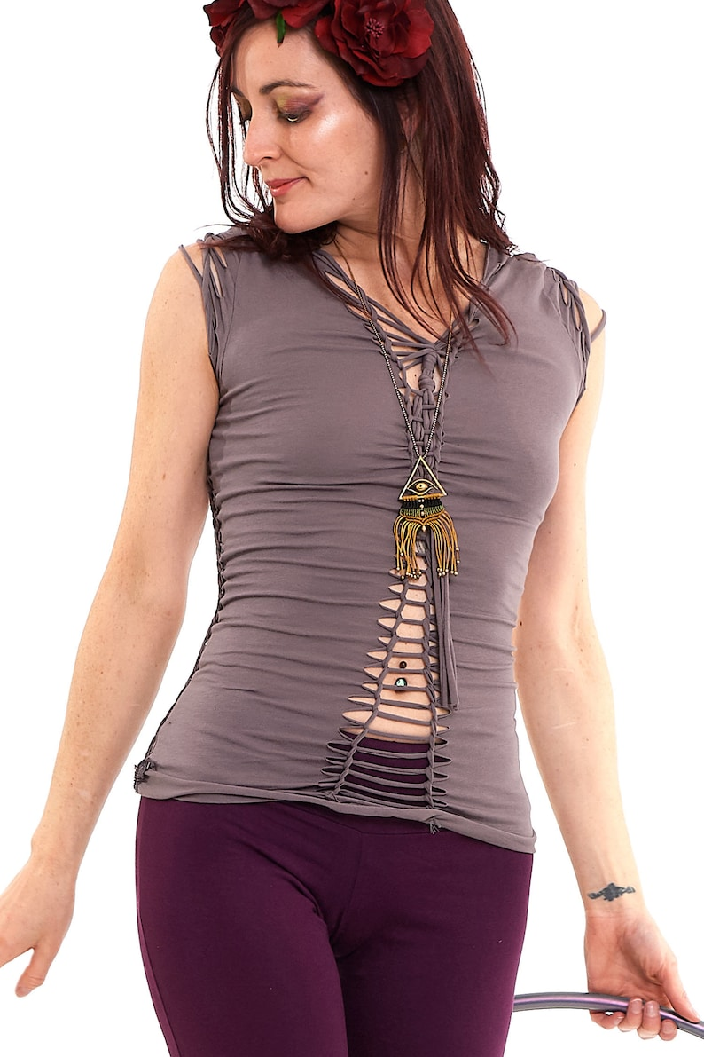 Braided Tribal Psy Top in Dusty Lilac
