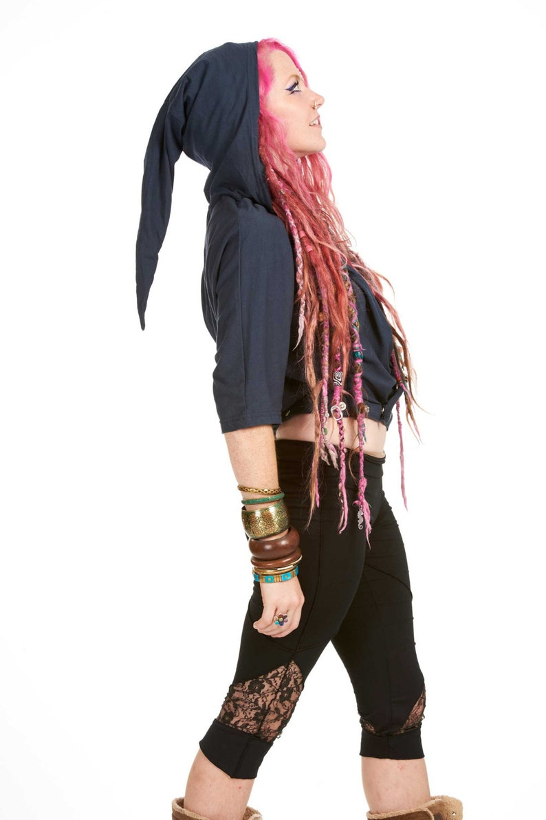 Pixie Hood Batwing Top Plus Size Psy Trance Clothing XL XXL Festival Clothing