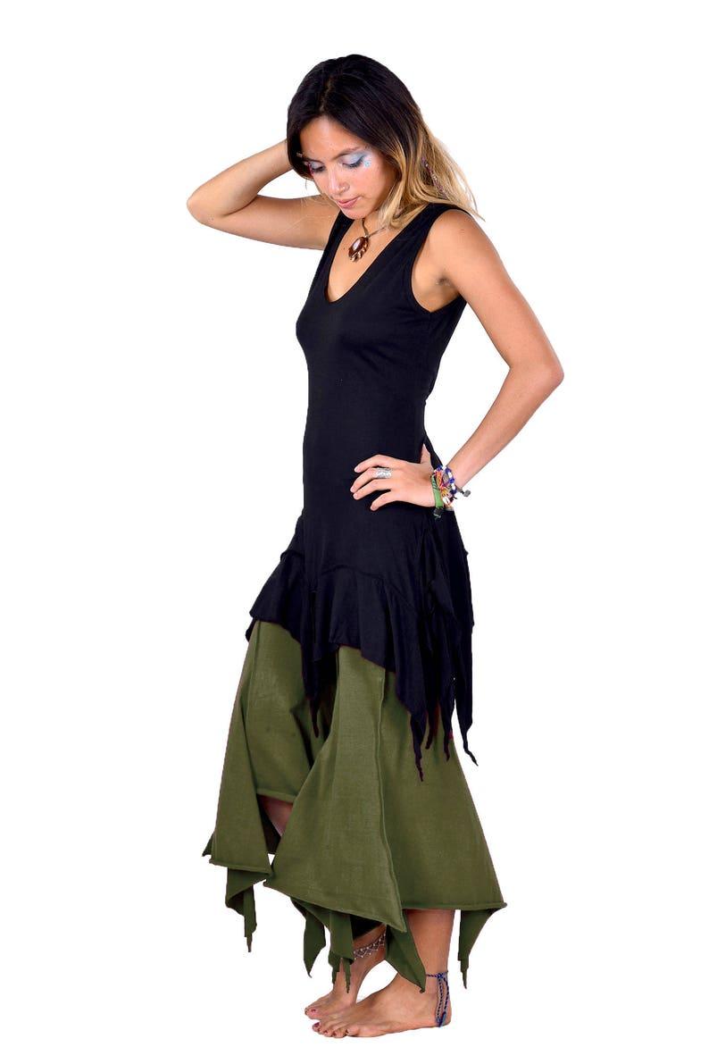 ragged hem psy trance trousers hippy festival Goa doof clothing elf  leggings green woodland elven khaki