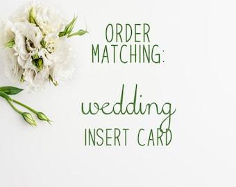 Matching  Wedding Insert