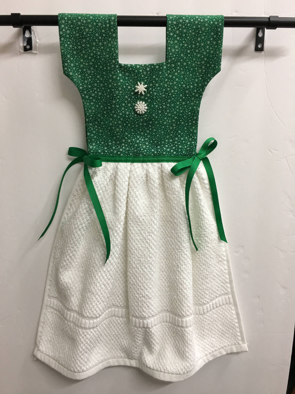 Snowflakes Kitchen Towel Oven Door Dress Green Etsy Snow Flakes Zoom