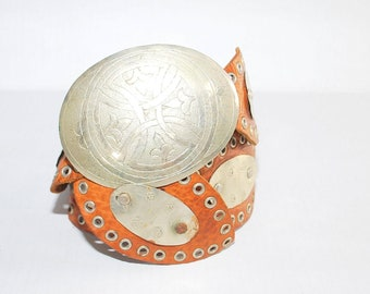 Vintage  Moroccan Tan Leather Belt with Silver Metal Grommets and Detail Morocco One Size