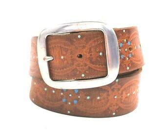 Vintage Belt Brown Tooled Painted Belt Large