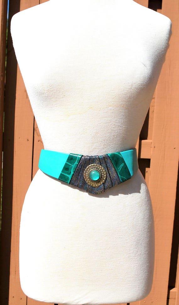 Vintage Belt Wide Green Leather Leather Belt 80s … - image 5