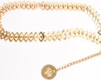 Vintage Belt Lightweight Gold Chain Coin Belt Medium