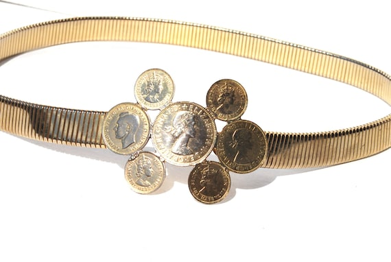 Vintage Gold Coil COIN Buckle Stretch Metal Belt Cincher Belt Medium