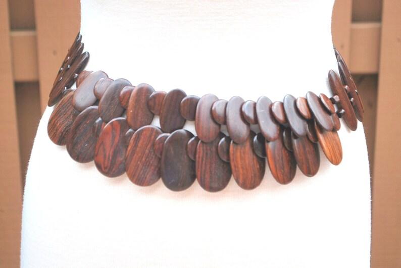 Vintage Brown Wood Hanging Hip Belt