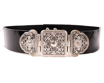 Vintage Belt Black Fabric Elastic Stretch and Patent Leather with Silver Ornate Metal Buckle Medium