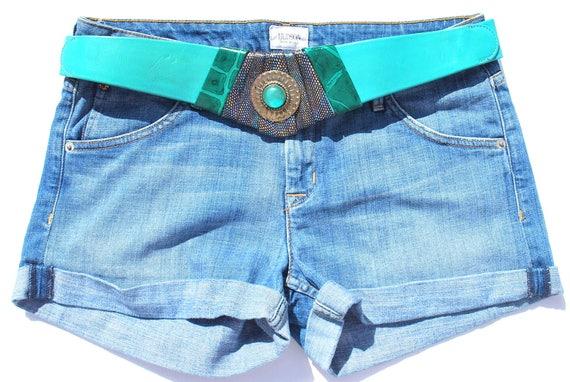 Vintage Belt Wide Green Leather Leather Belt 80s … - image 4