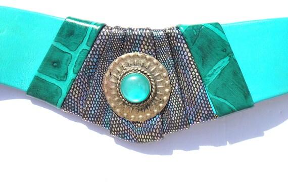 Vintage Belt Wide Green Leather Leather Belt 80s … - image 3