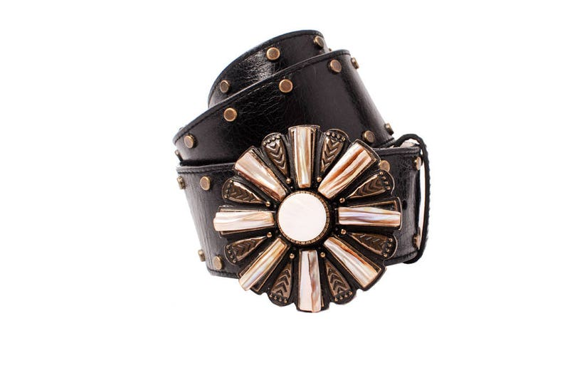 Vintage Belt Black Studded Ornate Round Abalone Buckle  Large image 0