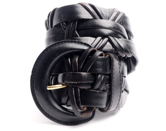 Vintage Black Leather Wide Braided Woven Belt Adjustable Small